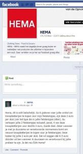 Hema haalt kritiek weg van Facebook-pagina