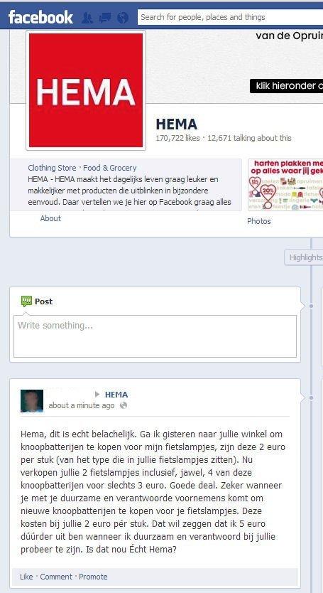 hema haalt kritiek weg van facebook pagina