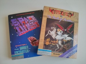 King's Quest IV and Space Quest in their original boxes