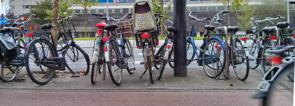From left to middle: pannier, front racks, front basket, child seat,
